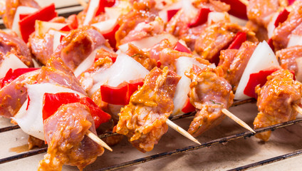 Kebab shish, shashlik, raw marinated meat