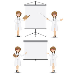 cartoon cute doctor presentation with blank board set
