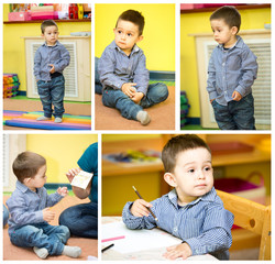 Little child boy playing in kindergarten in Montessori