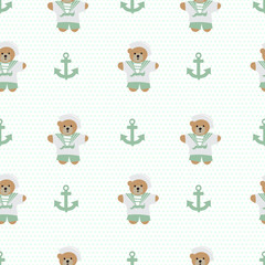 Navy anchor teddy  bear  seamless pattern