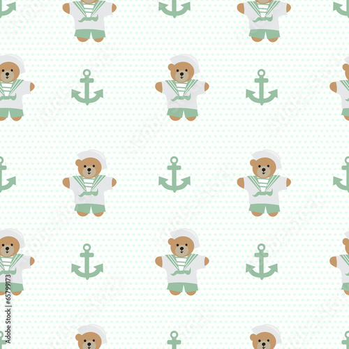Navy anchor teddy  bear  seamless pattern - 65799173