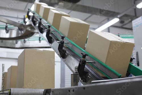 Cardboard boxes on conveyor belt in factory - 65799977