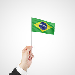hand holding flag of Brazil