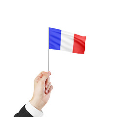 hand holding flag of France