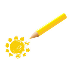Yellow Pencil With Sun