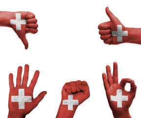 Hand set with the flag of Switzerland