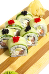Sushi roll with cucumber isolated on white background