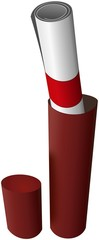Academy graduation diploma in red paper tube