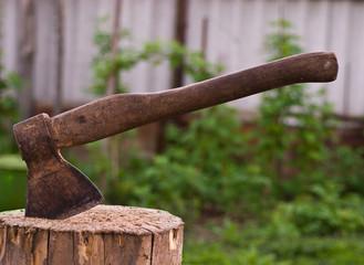 Old Hatchet in Wood
