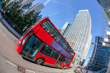 Famous Red Double Decker Bus in Canary Wharf District