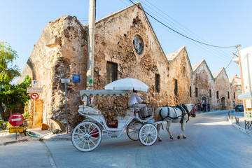 Traditional venetian brougham and horse at Greece