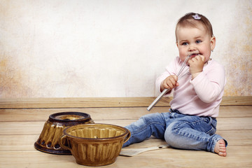 Little toddler cooking
