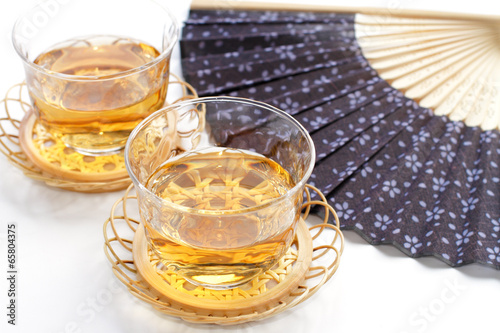 Japanese tea and fan showing the summer image