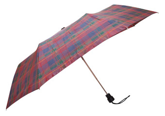 side view of folding checkered umbrella