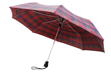 rear view of telescopic checkered umbrella