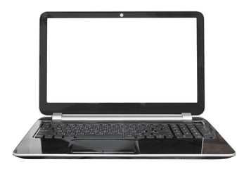front view of black laptop with cut out screen