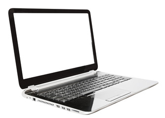black laptop with cut out screen isolated on white