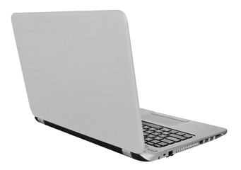 back view of laptop with with open display