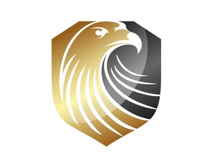 hawk logo eagle symbol gold financial icon