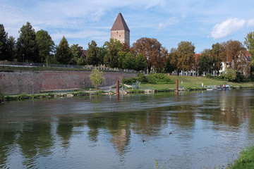 Gaensturm Tower and Danube River in Ulm, Germany