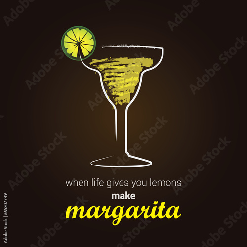 Fototapeta Margarita Cocktail, with positive thinking message
