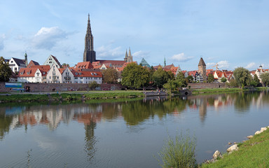View on Danube River and Ulm Minster, Germany