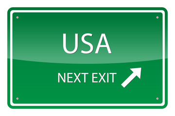 Green road sign, vector - Usa