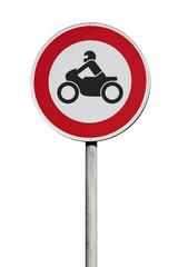 Verkehrsschild Durchfahrt für Motorräder verboten
