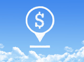 Dollar location marker cloud shape