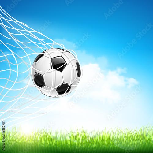 Soccer ball in goal. Vector - 65809114