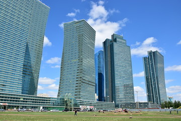A cluster of modern buildings in Astana / Kazakhstan