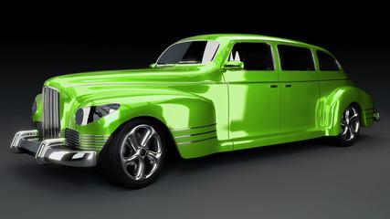 Studioaufnahme Oldtimer luxuriös, grün, 3D Render