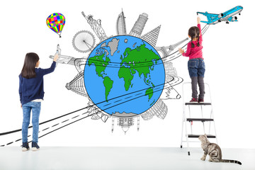 two girl kids drawing worldwide map and famous landmark