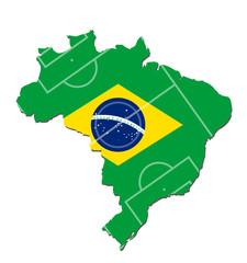 mappa brasile con bandiera brasiliana e campo da calcio