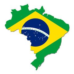 mappa brasile con bandiera brasiliana