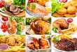 Постер, плакат: various meals with meat fish and chicken