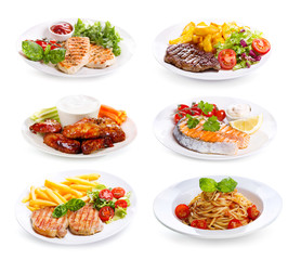 plates of various meat, fish and chicken