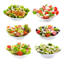 set of varioust salads