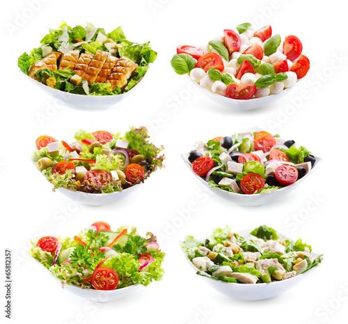 Leinwanddruck Bild set of varioust salads