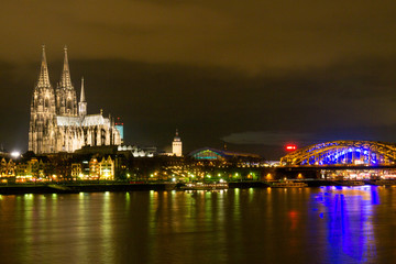 Skyline of Cologne and the River Rhine at Night