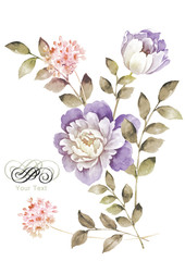 watercolor illustration flowers in simple background