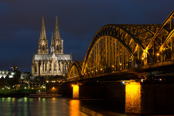 Cologne Cathedral and Bridge at NIght