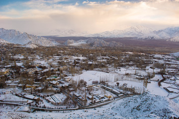 town in snow