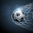 Soccer ball in goal. Vector
