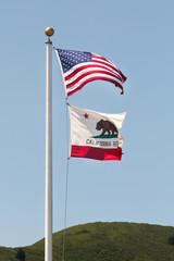 USA and California flag