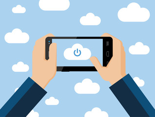 Cloud computing concept, vector flat illustration