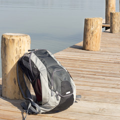 Backpack on the boat dock