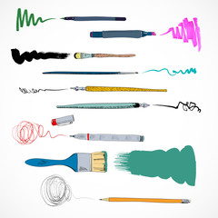 Drawing tools icon sketch