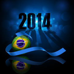 Soccer ball with brazil flag. Basil 2014