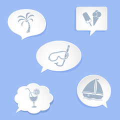 Beach web icons on white speech bubbles